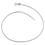 Fremada Sterling Silver 1.3-mm Twisted Box Chain Anklet