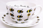 Busy Bumble Bee Breakfast Cappuccino Cup & Saucer Fine Bone China Bees Large Cup Saucer Set Hand Decorated in UK