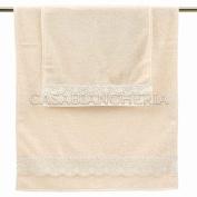 Pair Gabel Beatrice Towels with pizzo-beige