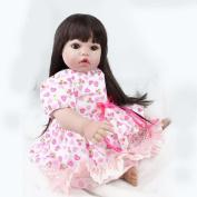 Hmhope Simulation Lifelike Reborn Baby Doll With Long Hair Princess 55cm Cute Eyes Cloth Body Boys And Girls Toys Birthday Gift