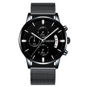 KASHIDUN Men's Watches Casual Quartz Waterproof Chronograph Date Mesh Alloy Bracelet.TL-SD