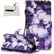 iPhone 6 Plus/iPhone 6S Plus Leather Wallet Case,TOCASO Folio Leather Wallet Case with [Kickstand][Card Slots][Magnetic Closure] Flip Notebook 3D Painted Leather Holster Leather Case for iPhone 6 Plus/iPhone 6S Plus-Purple Butterfly