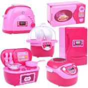 Mini Kitchen Play Set Home Appliances Refrigerator Stove Oven Microwave Toaster Steam Egg Timer Set 6 pcs Batteries