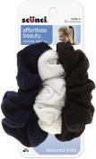 Scunci Effortless Beauty Basic Ruffle Ribbed Twist Scrunchies 3 ea