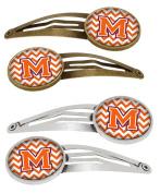 Letter M Chevron Orange and Regalia Set of 4 Barrettes Hair Clips CJ1062-MHCS4
