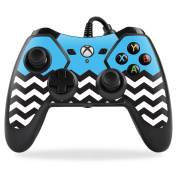 MightySkins Protective Vinyl Skin Decal for PowerA Pro Ex Xbox One Controller case wrap cover sticker skins Baby Blue Chevron