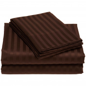 1000 TC King Size Chocolate Striped Egyptian Cotton Bed Sheet Set