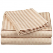 1000 TC King Size Beige Striped Egyptian Cotton Bed Sheet Set