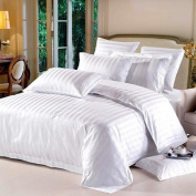 1000 TC King Size White Striped Egyptian Cotton Bed Sheet Set
