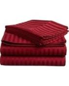 1000 TC King Size Burgundy Striped Egyptian Cotton Bed Sheet Set