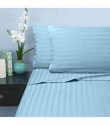 1000 TC King Size Light Blue Striped Egyptian Cotton Bed Sheet Set