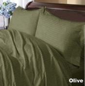 1000 Thread Count King Size Olive Striped Egyptian Cotton Bed Sheet Set