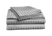 1000 TC King Size Light Gray Striped Egyptian Cotton Bed Sheet Set