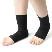 1 Pair Size M Black Compression Ankle Support Brace Heel Sports Protector Socks Sleeve Wrap