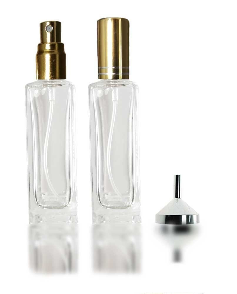 8e0c59821d67 Glass Perfume Atomiser 2 x 20ml square refillable bottles with a small  metal funnel