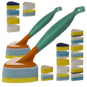 22pc Multi Purpose Kitchen Sponge Scrub Brush Set Handle Heads Cleaning Bathroom Refills Dish Wash