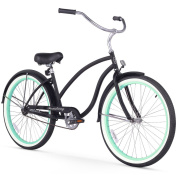 70cm Firmstrong Chief Lady Single Speed Beach Cruiser Women's Bicycle, Matte Black w/ Green Rims