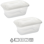 Set of 2 Rectangular Food Storage Boxes with White Lid 3.2 Litres – BPA Free.