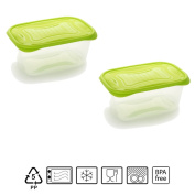 Set of 2 Containers hermeticos Rectangular with Lid Lime Green 1.2 Litres – BPA Free.