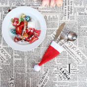 Artistic9(TM) Christmas Caps Fork Spoon Pocket Cutlery Holder Christmas Dinnerware Bag