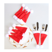 Ularma 10PCS Christmas Caps Cutlery Holder Fork Spoon Knife Pocket Xmas Decor Bag Party Decoration