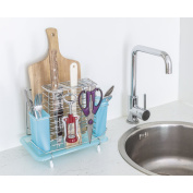 Tatkraft MERIT Cutting Board Cutlery Drainer And Knife Holder with Removable Drip Tray Chrome 18X28XH25 cm