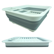 Bid Buy Direct® Collapsible Plastic Dish Drainer Rack | Over the Sink Dish Drainer Set with Cutlery Holder