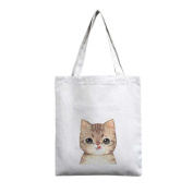UOOME Fashion Canvas Shopping Bag Reusable Foldable Grocery Tote Bag Shoulder bag Art Craft Decorating Bag With Zipper and Inner Bag - Cute Cat