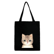 UOOME Cute Cat Fashion Canvas Reusable Foldable Grocery Tote Bag Shopping Bag Shoulder bag Art Craft Decorating Bag With Zipper and Inner Bag