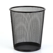 CWAIXX Household King size bedroom round trash basket in the kitchen bathroom living room tube cover iron small waste basket , Black Trumpet