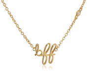 """Shy By Sydney Evan Sterling Silver Yellow Gold Plated """"Bff"""" Necklace with Diamond Bezel of 41.275cm"""