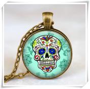 Sugar Skull turquoise Pendant, Sugar Skull Necklace,