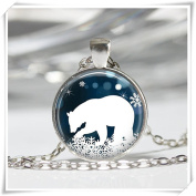 Polar Bear Necklace Christmas Jewellery Blue and White Snowflake Art Pendant in Bronze