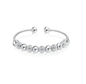 Designer Inspired White Gold Plated Bead Cuff Bangle