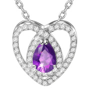 Dawanza-Christmas Gift Necklace for Women-Heart Modelling Pendant Purple Cubic Zirconia-Fashionable Jewellery