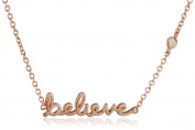 """Shy By Sydney Evan Sterling Silver Rose Gold Plated """"Believe"""" Necklace with Diamond Bezel of 41.275cm"""