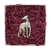 Fine Pewter Greyhound Brooch, Handcast By William Sturt