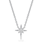Diamond Treats SHINING STAR Necklace in 925 STERLING SILVER for Women set with Sparkling Cubic Zirconia. Silver, Yellow Gold or Rose Gold Ladies Pendant with Chain. The Perfect Gift for Her.