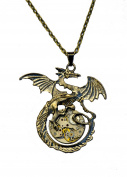 Steampunk Antique Bronze Style Dragon Necklace. Hand Made in Cornwall, UK