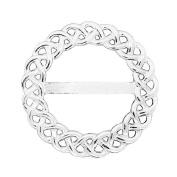 Fine Pewter Fine Celtic Braid Scarf Ring, Handcast By William Sturt