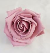 Dusky Pink Open Rose Artificial Hair Flower Clip Buttonhole Corsage by Fabulous Fascinators