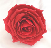 Large Red 12cm Open Rose Artificial Hair Flower Clip Buttonhole Corsage by Fabulous Fascinators