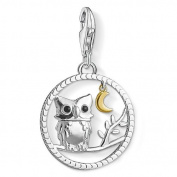 Thomas Sabo Women-Charm Pendant Night Owl Charm Club 925 Sterling silver 18k yellow gold plating black 1392-427-11