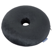 Bluestone Memory Foam Donut Cushion with Zippered Black Plush Cover