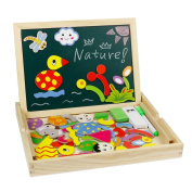 Wooden Drawing Board Game Magnetic Jigsaw Puzzles Children Chalkboard Easel Magnetic Learning Toy for Kids Boys Girls Age 3+
