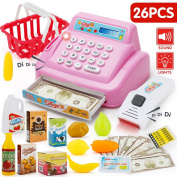 SONi 26 PCS Cash Register Pretend Play Supermarket Shop Till Toys Food Toys with sounds and actions Play Food, Money ,Grocery Toys and more-Pink Colour