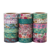 Emmet Decorative Washi Tape Paper Masking Tape 18 rolls/set Perfect for Scrapbooking, DIY Crafts and Gift Wrapping and Mood Design- Large 10 Metres Length - with Free Stamp