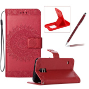 Strap Leather Case for Samsung Galaxy S5,Flip Wallet Cover for Samsung Galaxy S5,Herzzer Elegant Classic Solid Colour Red Mandala Flower Printed Magnetic Purse Folio Smart Stand Cover with Card Cash Slot Soft TPU Inner Case
