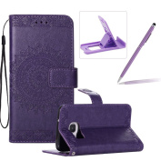 Strap Leather Case for Samsung Galaxy S7 Edge,Flip Wallet Cover for Samsung Galaxy S7 Edge,Herzzer Elegant Classic Solid Colour Purple Mandala Flower Printed Magnetic Purse Folio Smart Stand Cover with Card Cash Slot Soft TPU Inner Case