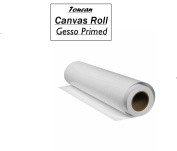 """Toucan 21"""" inch 30 Metres Gesso Primed Matt blank canvas roll 100 % Elite Cotton quality fabric 280 gsm wide format for artists & professionals (30M)UN Stretched Extra-long roll."""